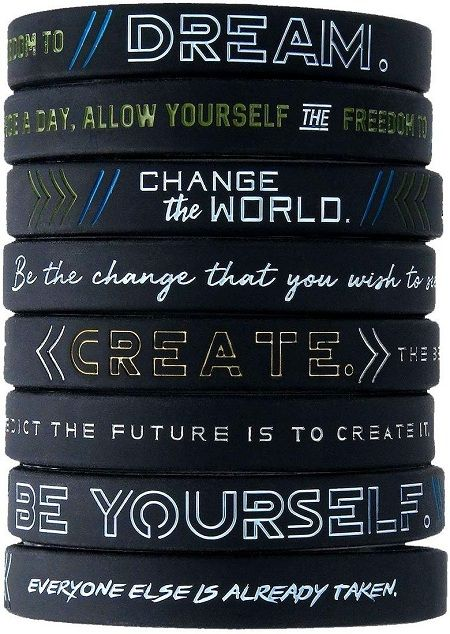 Be Yourself, Change the World, Create Dream - Bracelet Wristbands Bundle