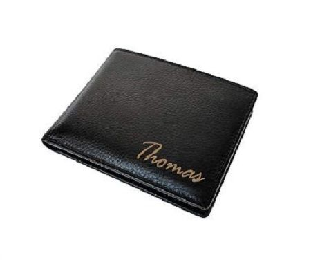 Customized Black Leather RFID Blocking Card Name Wallet Engraved