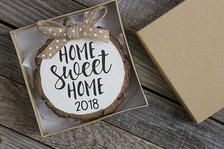 Home Sweet Home 2019 Wood Slice Christmas Ornament