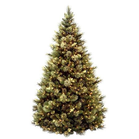 National Tree 7.5 Foot Carolina Pine Tree with Flocked Cones and 750 Clear Lights, Hinged