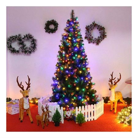 Our Warm 7FT Pre-Lit PVC Artificial Christmas Tree Xmas Pine Tree Holiday Decorations