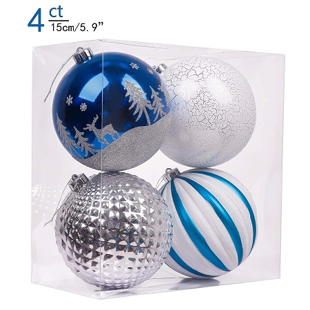 Valery Madelyn Winter Wishes Silver Blue Shatterproof Christmas Ball Ornaments