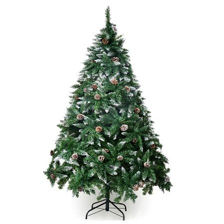 Winreg Artificial Christmas Tree Snow Flocked Hinged Pine Cone Decoration